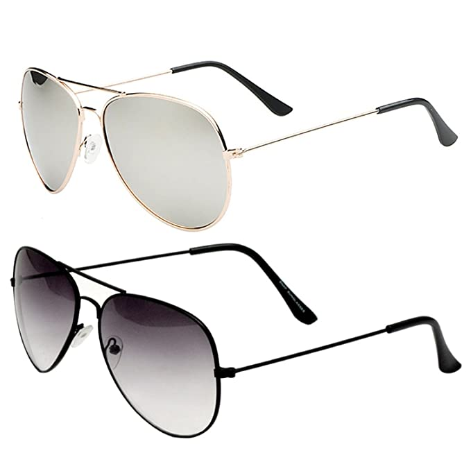 fc36af25bb6 SHEOMY COMBO OF STYLISH GOLDEN SILVER MERCURY AVIATOR AND HALF BLACK AVIATOR  SUNGLASSES WITH 2 BOX Best Online Gifts  Amazon.in  Clothing   Accessories