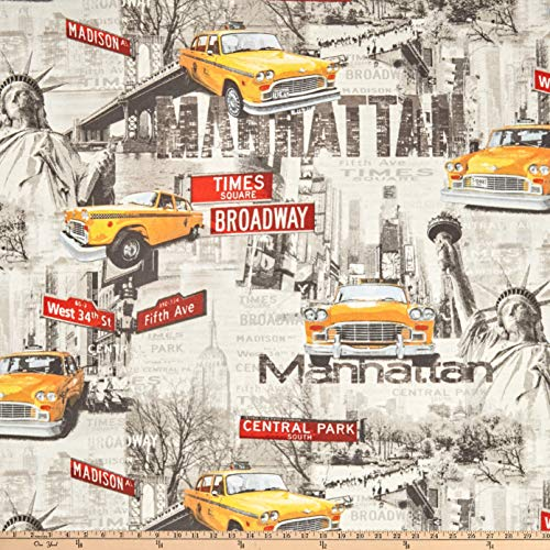 ArtCo Prints Canvas NYC Taxi Fabric, Grey, Fabric By The -