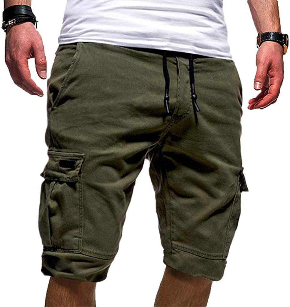 Fanteecy Mens Shorts Short Cargo Pants Casual Classic Fit Drawstring Summer Beach Shorts with Elastic Waist and Pockets