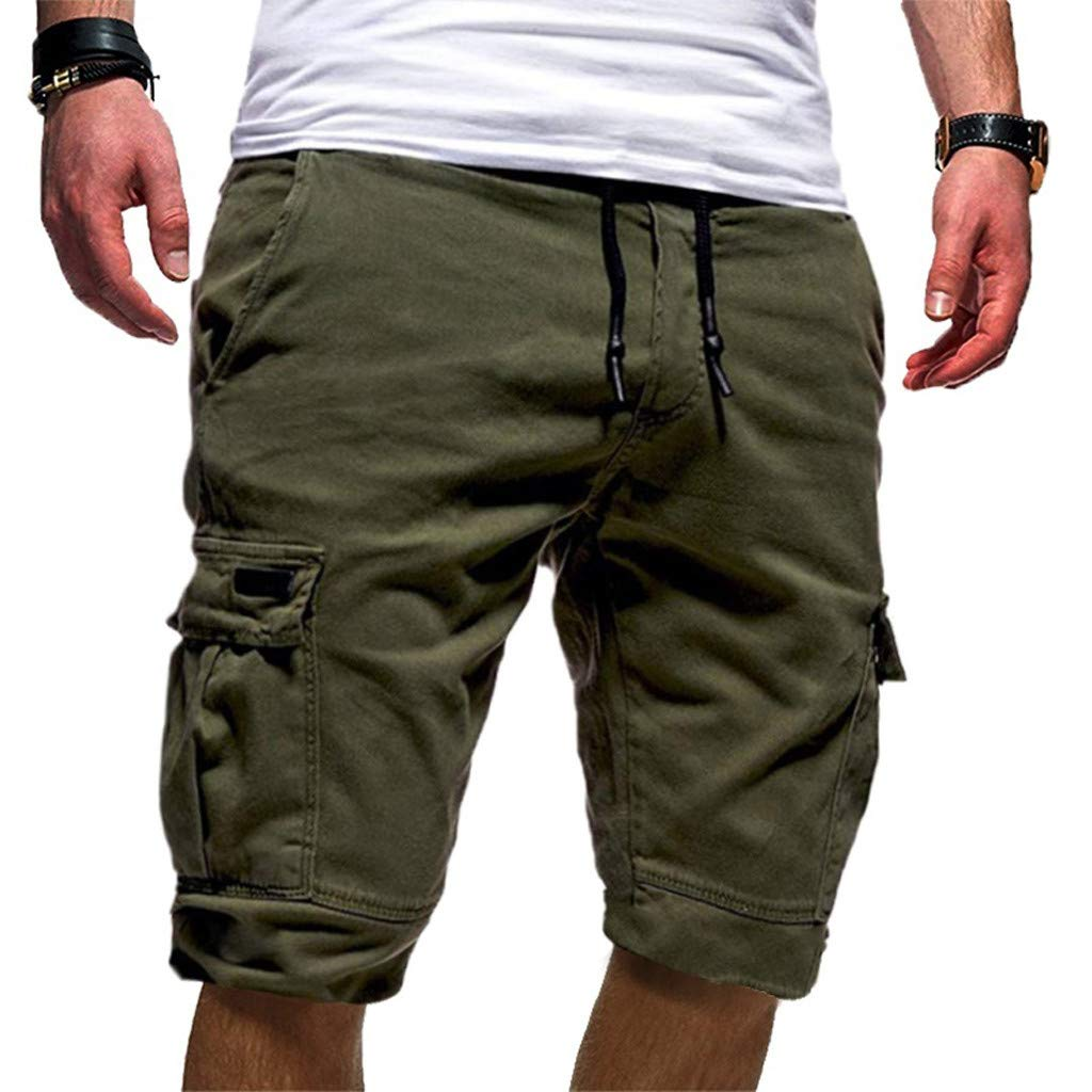 Ninasill Hot!Men's tethered Tooling Shorts Solid Color Elastic Waist with Pocket Sports Shorts Large Size Beach Shorts Army Green