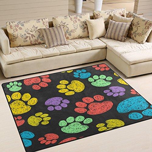 ALAZA Watercolor Colorful Dog Paw Print Area Rug Rugs for Living Room Bedroom 7' x 5' (Paw Print Rug)