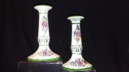 Vintage Hand Painted Portuguese Candlesticks