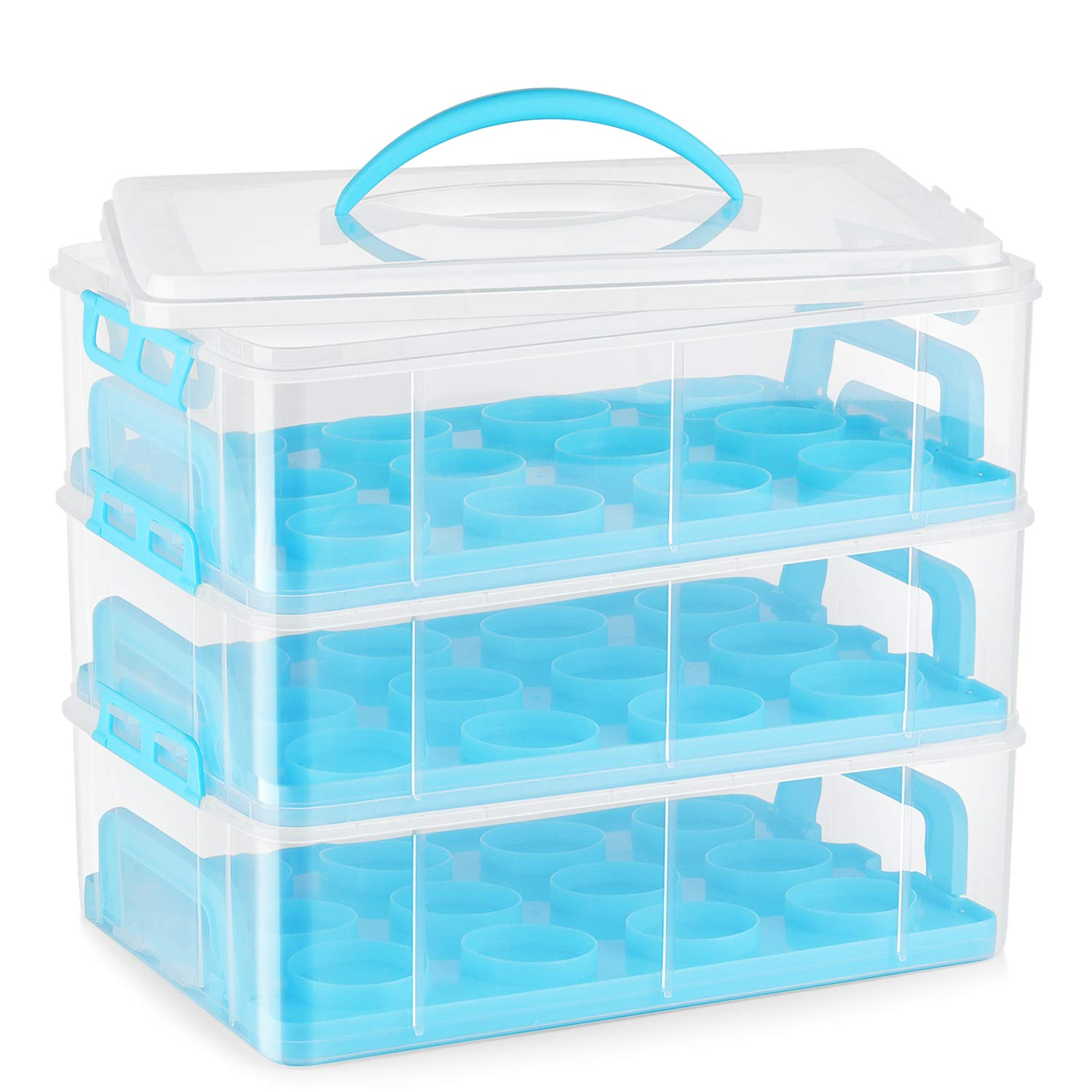 Flexzion Cupcake Carrier Holder Container Box (36 Slot, 3 Tier) - 36 Cupcakes Slot or 3 Large Cakes Pastry Clear Plastic Storage Basket Taker Courier with 3 Tier Stackable Layer Insert (Blue) by Flexzion