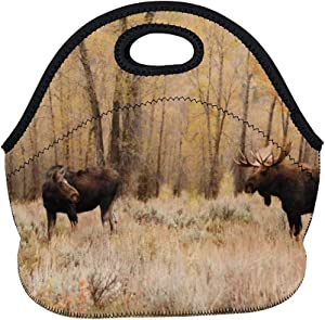 Neoprene Lunch Bag Moose Bull Cow Insulated Picnic Tote Boxes Backpack for Women Men Kids Basic Style with Zipper