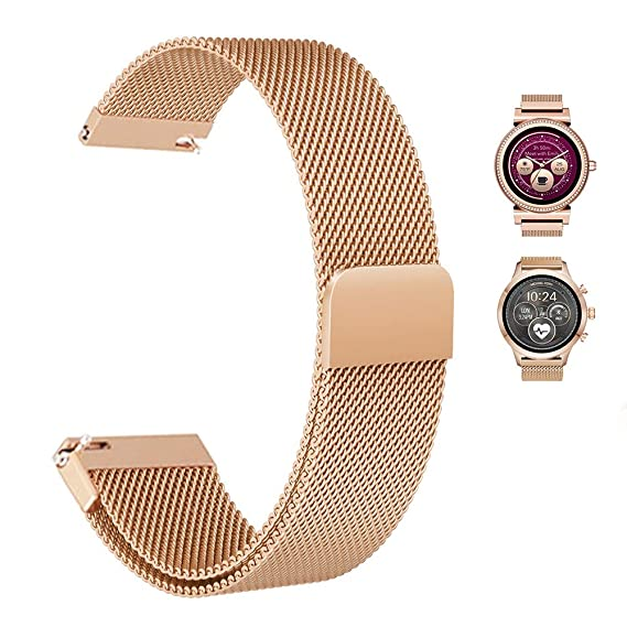Aemus Band Compatible with Michael Kors Sofie/Runway Smartwatch, Stainless Steel Mesh Milanese Loop Magnetic Watch Bands and Easy to Adjust for Access ...