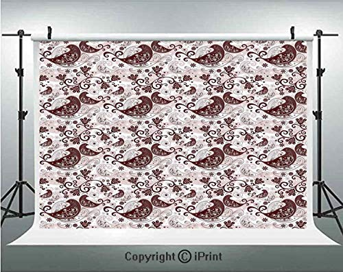 Paisley Decor Photography Backdrops Romantic Valentine Cute Birds with Flowers and Ivy Like Shapes Artwork,Birthday Party Background Customized Microfiber Photo Studio Props,8x8ft,Brown and White