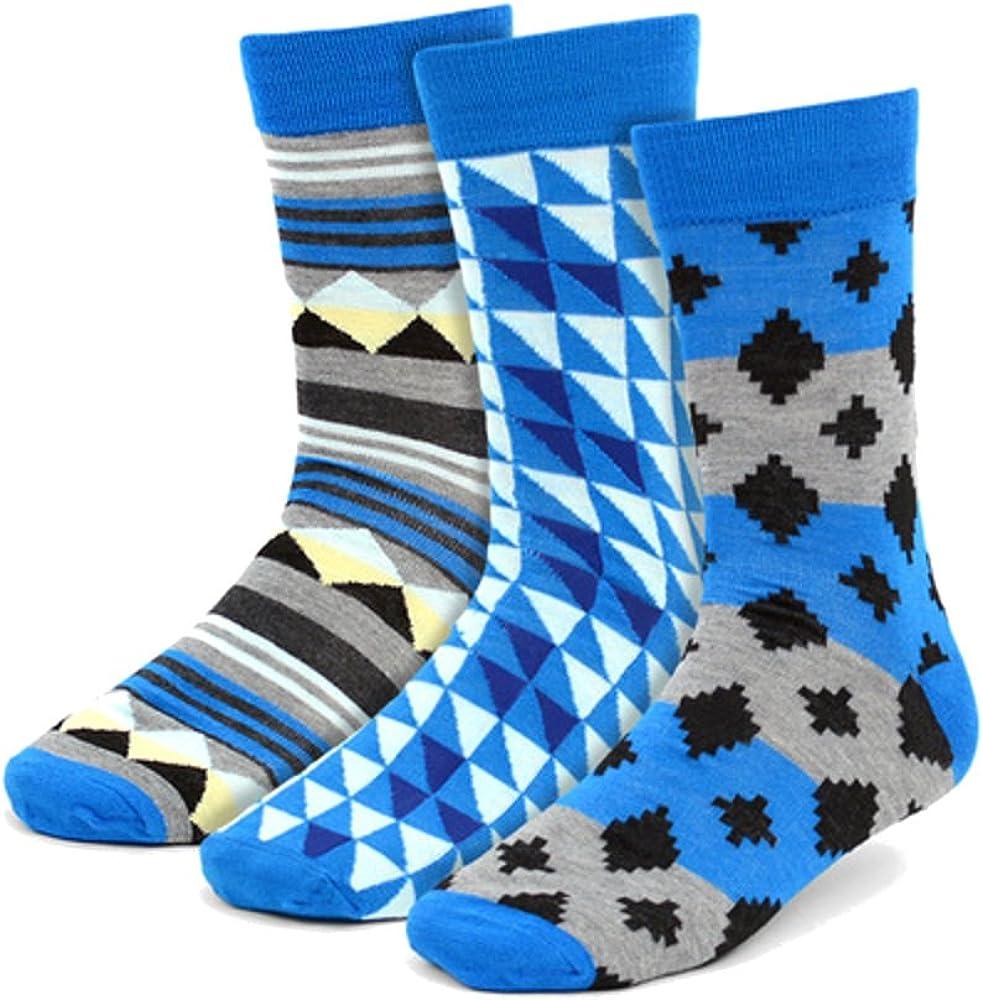 Mens Premium 3 Pairs of Fun Multi Blue Geometric Hipster Crew Dress Socks