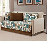 Mk Collection 5pc Daybed Bedspread Quilted Print Modern Floral Off White Green Brown #Venice New