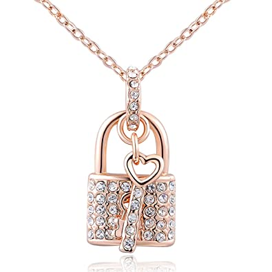 Amazoncom Women Lock Key Gold Plated Necklace Rose Gold Chain