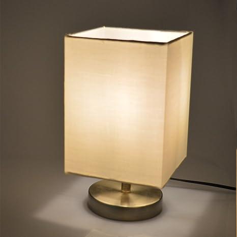 Lámpara de mesita de noche, lámpara de mesa minimalista Afsemos, pantalla de tela con lámpara de noche de metal para mesa de centro, sala de lectura, ...