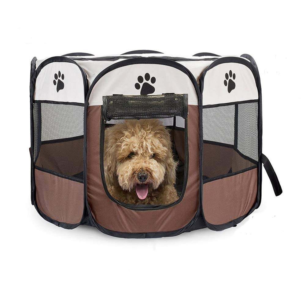 Brown Small Brown Small Portable Pet Playpen,Dog Puppy Playpen with 8-Panel Kennel Mesh Shade Cover Waterproof Fabric Indoor Outdoor Pet Tent Fence for Dogs and Cats