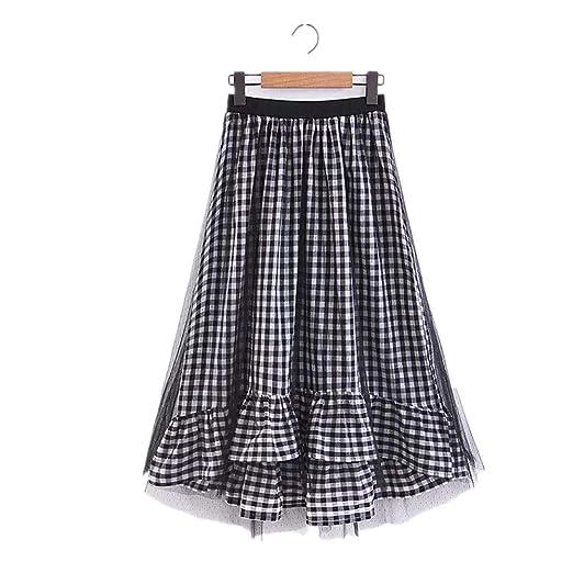 Deawecall Faldas de Malla Alta para Mujer Patchwork Falda Larga de ...