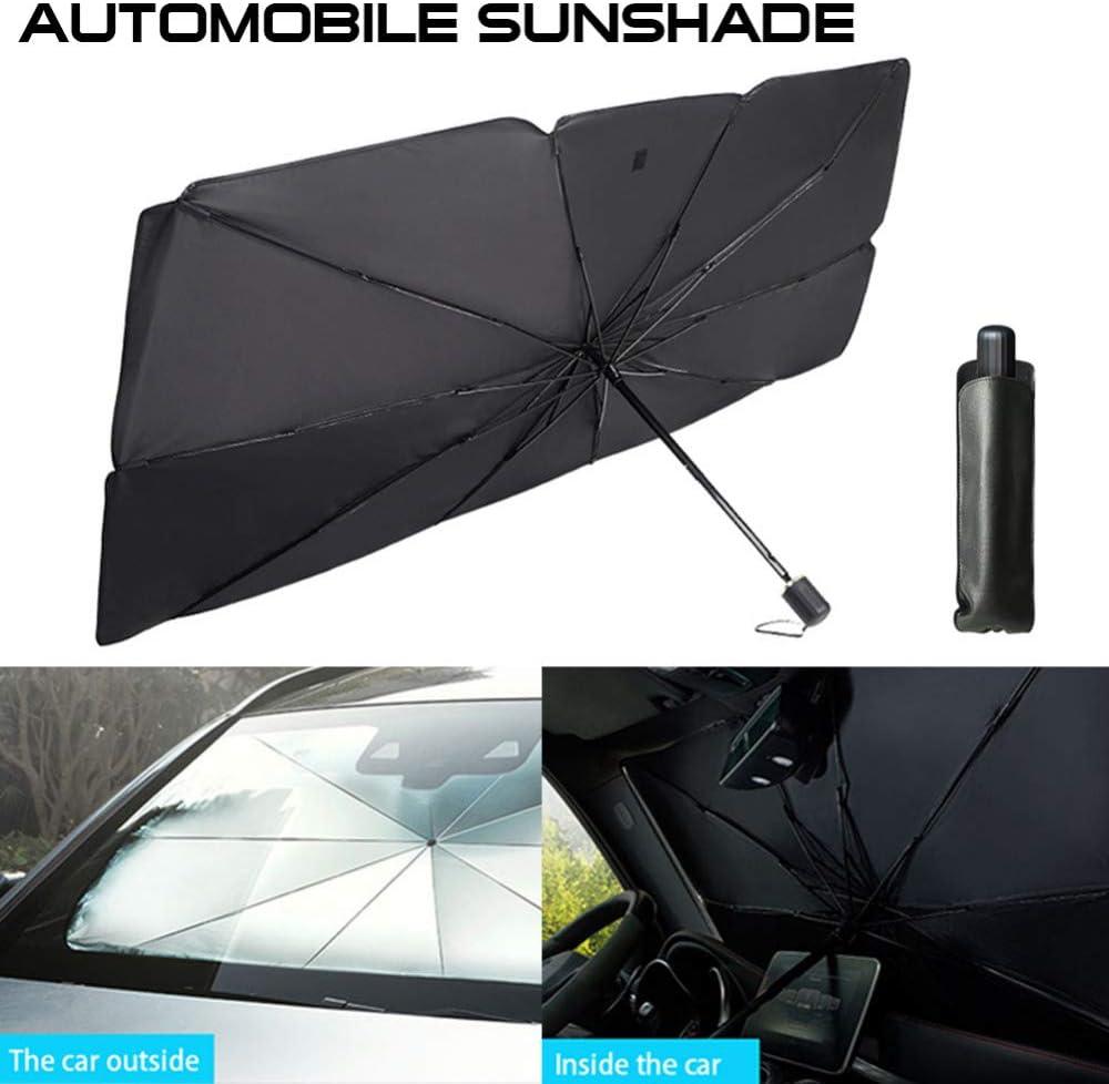 GSFDG Umbrella Type Car Sunshade Telescopic Windshield Sun Shade ,FOldable Summer Sunscreen Cooling Front Window Windshield Sun Shade Blocks UV Rays,Protector To Keep Your Car Cooler 1pcs*l