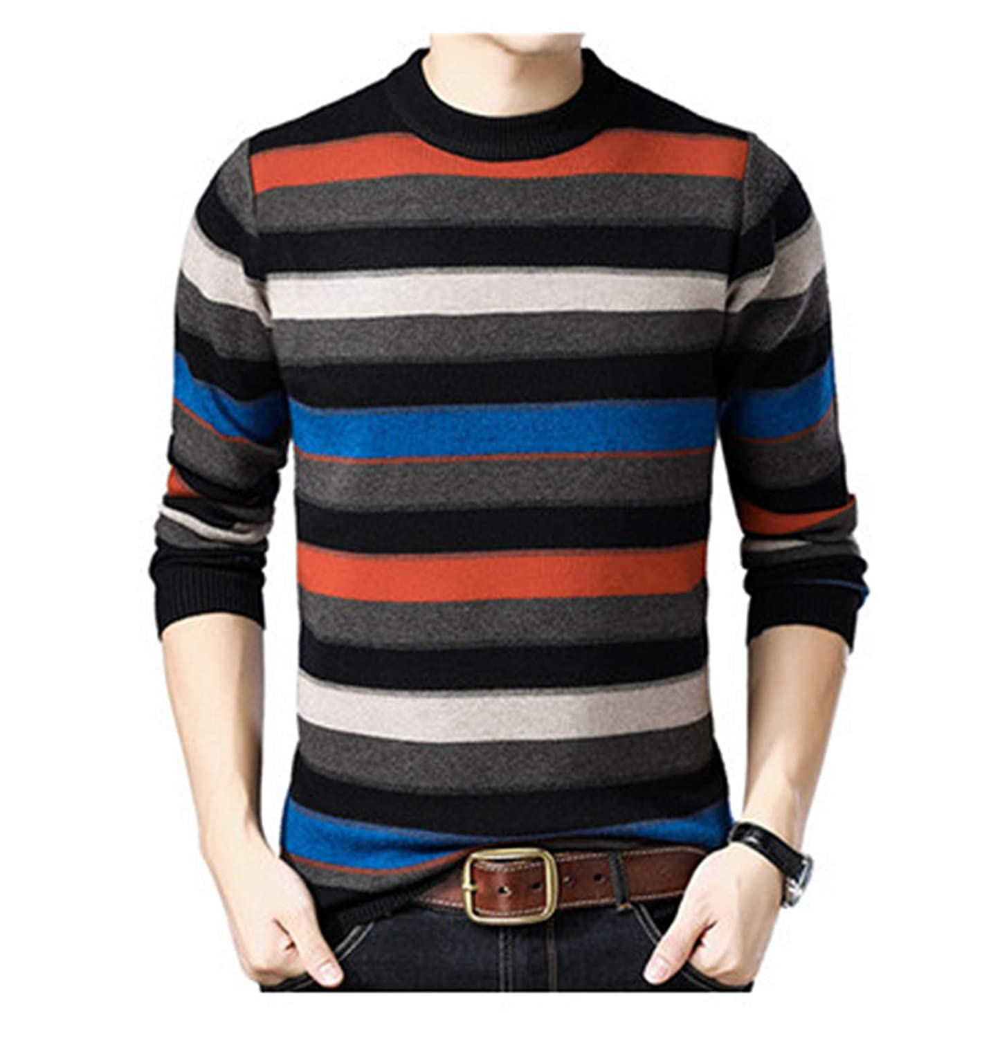 Susie Zechariah Thick Warm Sweater Men Winter Casual O-Neck Knitted Cashmere Wool Pullover