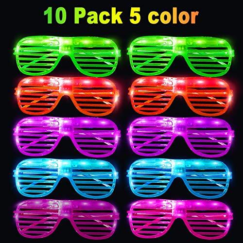 Christmas 10 Pack LED Lights Glasses Party Favors Assorted Colors Glow in The Dark Party for Kids Boys Girls Women Thanksgiving Christmas Dorm Indoor School Home Party Supplies Birthday Gifts