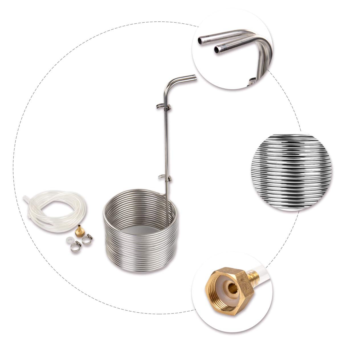 BACOENG Food Grade Super Efficient 5/16'' x 50' Stainless Steel Wort Chiller by BACOENG