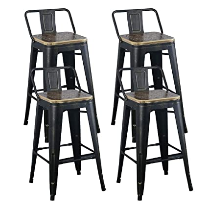 Pleasant Amazon Com Tmgy Industrial Barstools With Wood Seat And Spiritservingveterans Wood Chair Design Ideas Spiritservingveteransorg