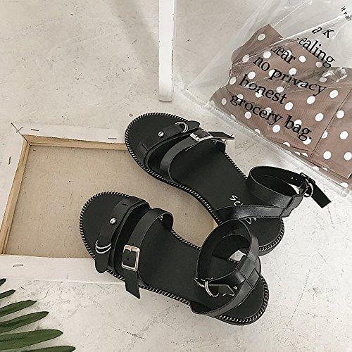 tacón confort planas de de sandalias mujer claro Zapatos verano de Black marrón PU negro z0Btxw