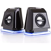 GOgroove 2MX LED Computer Speakers with Powered Subwoofer, Blue Glowing Lights and Stereo Sound - Wired 3.5mm Audio Input Connection, USB Powered for PC, Desktop and Laptop Computers