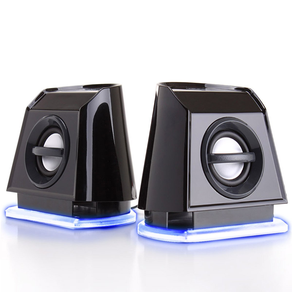 GOgroove 2MX LED Computer Speakers with Passive Subwoofer, Blue Glowing Lights and Volume Control - 3.5mm Audio Input Connection, USB Powered for Desktop and Laptop Computers