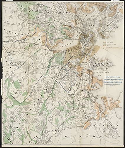 Historic Map | ca. 1870-1879 Map of Boston : showing health districts and undrained and drained land | Antique Vintage Reproduction