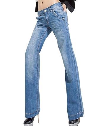 Pantalones Vaqueros para Mujer Cintura Alta, Ancha, Pierna ...
