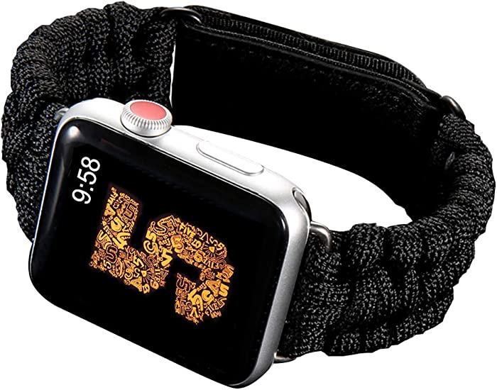 Hero Sport Band Compatible for Apple Watch Band. Durable Woven Nylon Velcro Breathable 550 Paracord Lifesaving Wristband for iWatch Series 5 4 3 2 1 - Black(38mm/40mm)