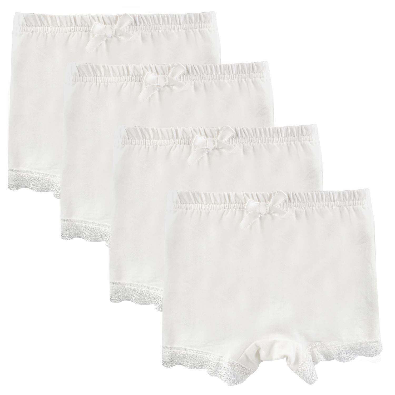 Auranso Girls Bike Shorts 4 Pack Solid Dance Shorts Lace Boyshort Panties for School Uniform/Sports/Dresses/Under Skirts