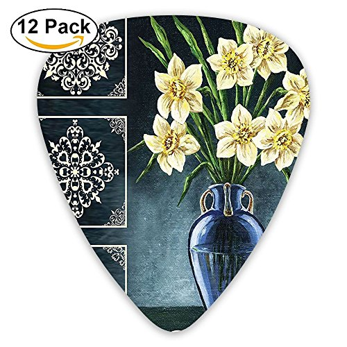 (Newfood Ss Daffodils Ceramic Pot Picture Art Ornaments Digital Printed Tapestry Natural Floral Guitar Picks 12/Pack Set)