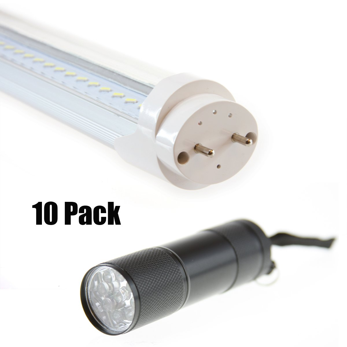 5Star Lights T8 LED Light Tube 20W(60W equivalent), 6000K Daylight, ETL Listed with LED flashlight, Dual-ended Power, 4ft. 2300 Lumen Energy Saving Fluorescent Tube Replacement, (Pack of 10, Daylight White)