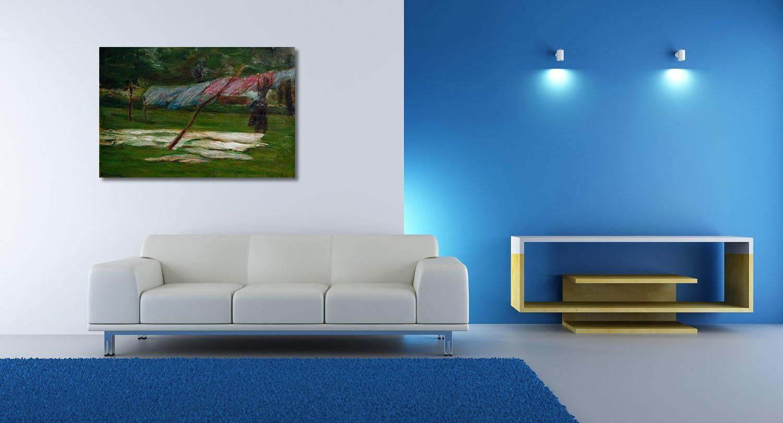 Max Liebermann, Wäsche trocknen - Bleiche - 16x16 cm - Textil