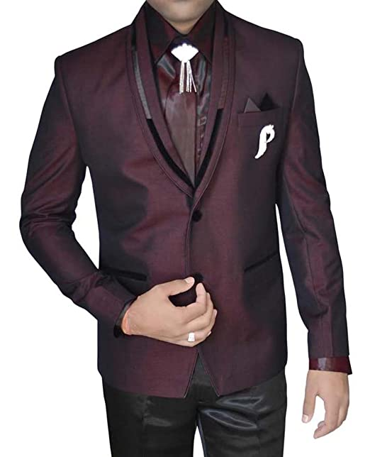 INMONARCH Mens Wine Polyester Tuxedo Suit 2 Button 7 Pc ...