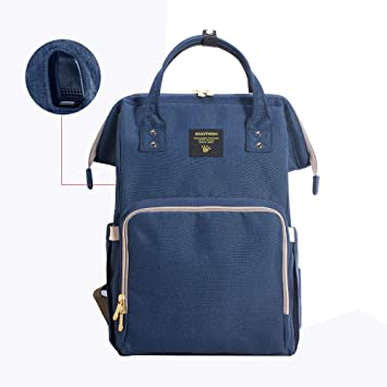 a56da0d25e Amazon.com   SUNVENO Baby Diaper Bag Backpack Mommy Maternity Nappy  Changing Bag Large Travel Waterproof Insulated Nappy Bag Backbag (Navy)    Baby
