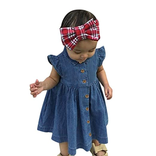 Amazon.com: TiTCool Baby Infant Toddler Girls Denim Dress Ruffle Sleeve Summer Clothes for 0-4 Years Old: Clothing