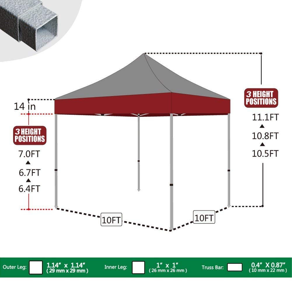 Eurmax 10'x10' Ez Pop Up Canopy Tent Commercial Shelter with Heavy Duty Roller Bag,Bonus 4 Canopy Sand Bags (White) by Eurmax (Image #1)