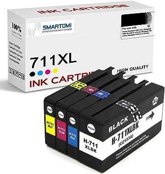 SMARTOMI 711XL 711 compatibles con HP 711 XL Cartucho de Tinta, para HP designjet Serie T520 Serie T120(4 Cartuchos : 1 Negro, 1 Cian, 1 Magenta, 1 Amarillo): Amazon.es: Oficina y papelería