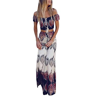 Women Dress Godathe Womens Summer Beach Printing Vest Shirt Tops Blouse Skirts 2PCS Set S-