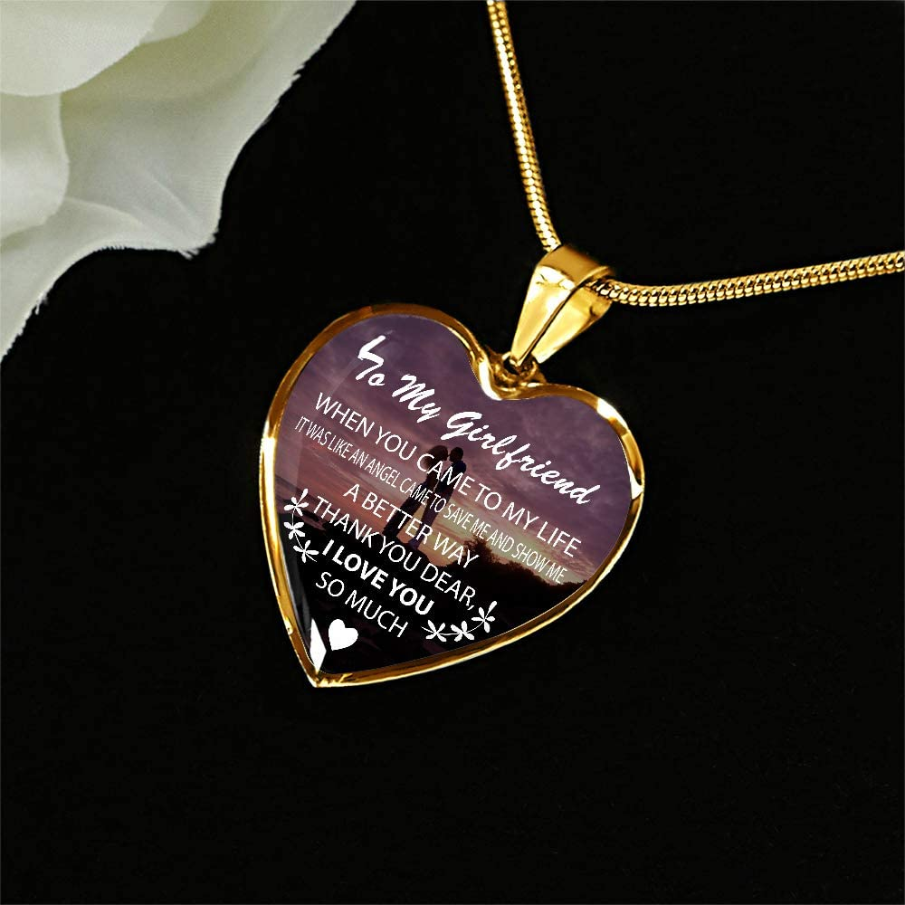 ZEN DEAL to My Girlfriend Special Necklace for Girlfriend Amazing Gift for Your Wife Gold Heart Pendant