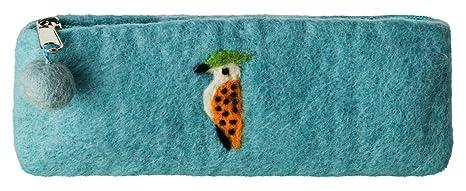 Maharanis FAIRTRADE Handgefertigtes Filzmäppchen Stifte Schlamper Kosmetiktasche Woody Woodpecker der Specht 20-21 cm aqua