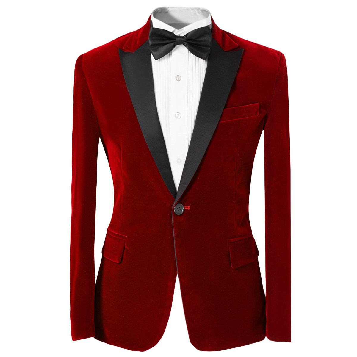 Mens 2-piece Suit Peaked Lapel One Button Tuxedo Slim Fit Dinner Jacket & Pants, Red, Medium by Cloudstyle