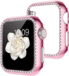 Goton Watch Cover Compatible Apple Watch Case 44mm, Series 4 5 iWatch Face Cover, Women Bling Crystal Diamond Watch Bumper Protector Shockproof PC Protective Frame (Rose Pink, 44mm)