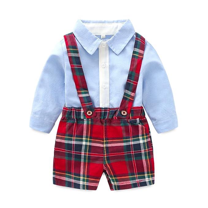Amazon.com: Niños camisa de manga larga con overol de corta ...
