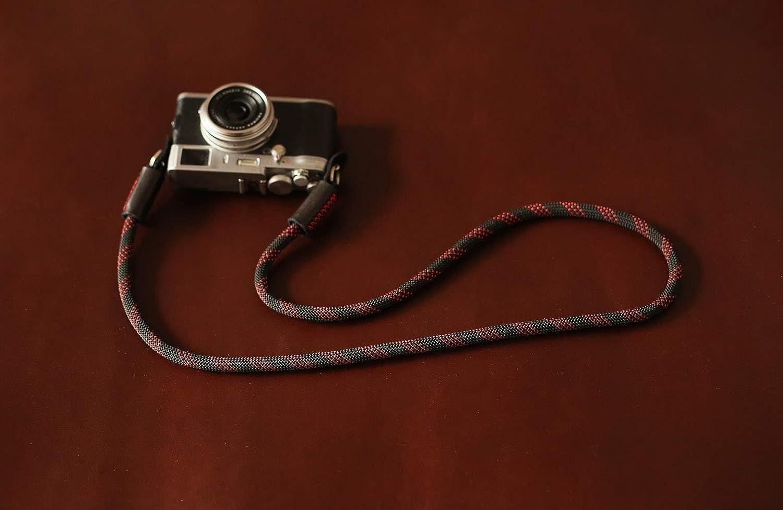 black red dot climbing rope camera neck shoulder strap,black leather.