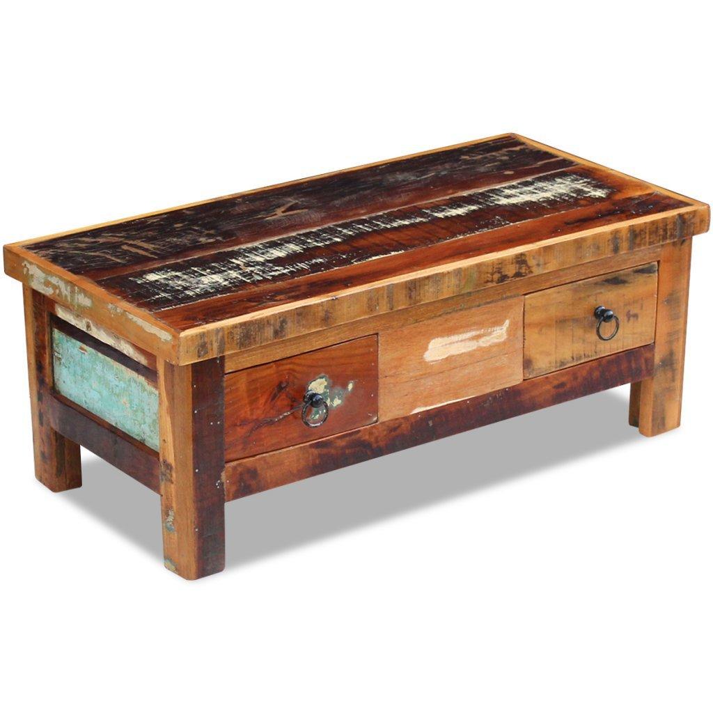 Festnight Retro-Stil Couchtisch Schubladentisch Beistelltisch Kaffeetisch aus Recyceltes Massivholz Holztisch Wohnzimmertisch mit 2 Schubladen 90x45x35cm