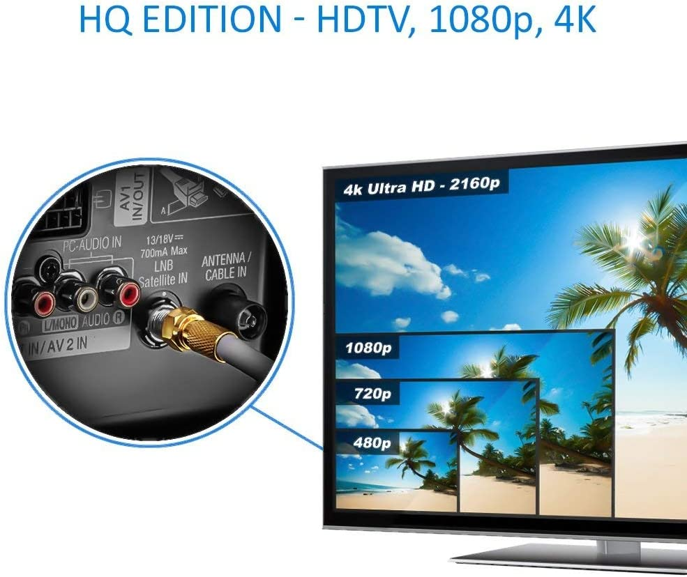 deleyCON HQ+ 50m Cable Coaxial Sat 130dB Blindado de 5 Capas DVB-S+S2 DVB-T DVB-C Cable de Banda Ancha 4K 1080p Full HD HDTV 10 Conectores F Dorados