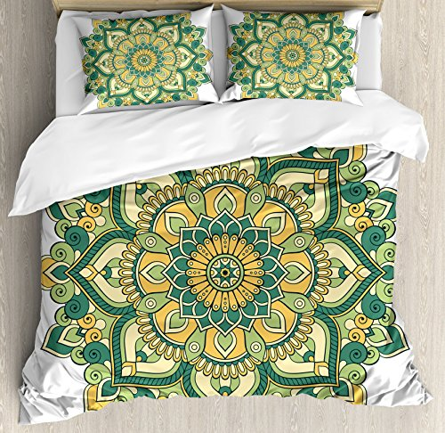 - Ambesonne Mandala Duvet Cover Set Queen Size, Asian Style Ethnic Dahlia Petals Eastern Illustration Print, Decorative 3 Piece Bedding Set with 2 Pillow Shams, Jade Hunter Fern Green Apricot