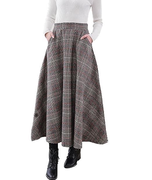 e674688f83 Femirah Women's High Waist Woolen A Line Skirt Long Maxi Winter Skirt  (Medium, Grey