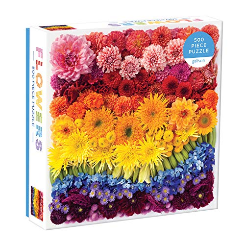 """Galison Rainbow Flowers Puzzle, 500 Pieces, 20""""x20"""" - Features an Array of Flowers and Petals in a Mesmerizing Rainbow of Color - Challenging, Perfect for Family Fun"""