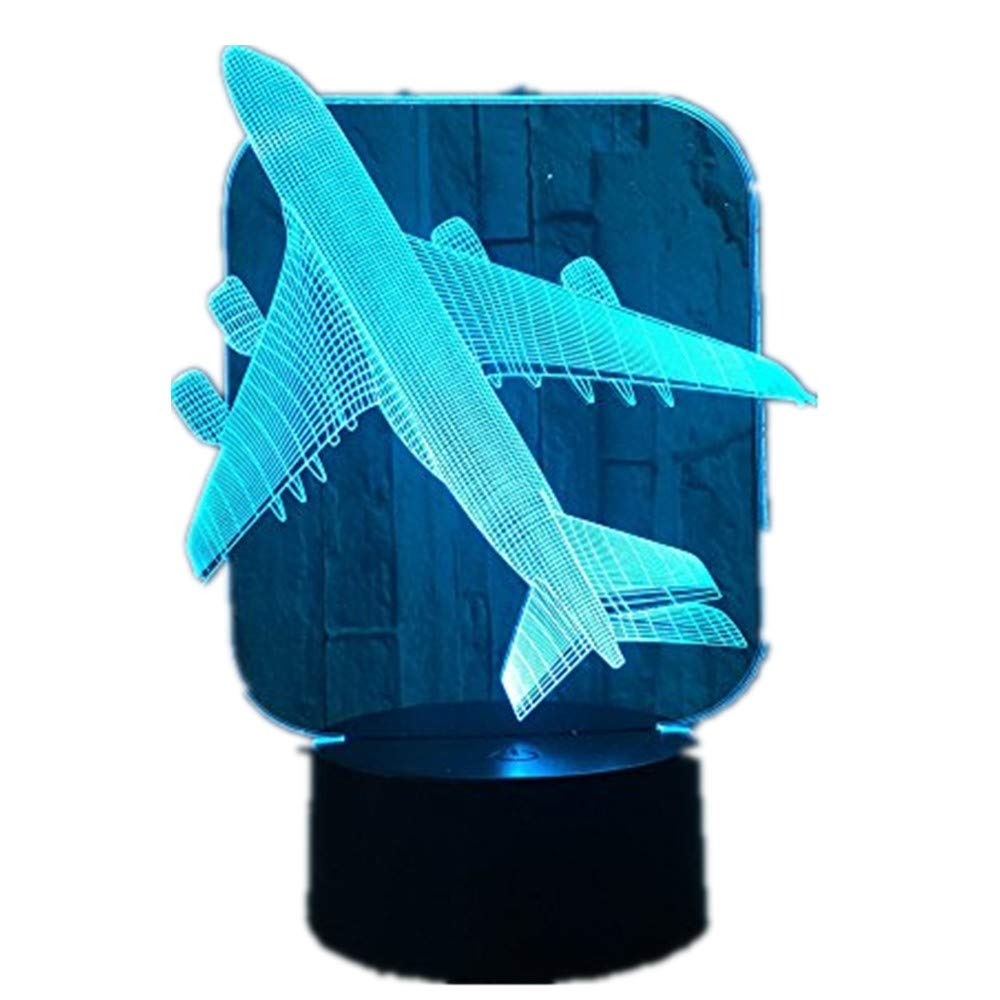 Aircraft Warplane Model Creative 3D Night Light Touch Jet Plane Desk Lamp LED Illusion Lamp Bedside Lamp Cool Toy