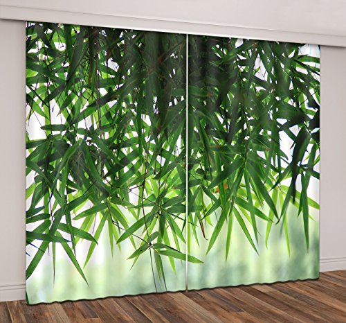 Bamboo Forest Decor Curtains By LB,Green Bamboo Leaves 3D Window Treatment Curtain Living Room Bedroom Window Drapes 2 Panels Set,60W x 65L Inches - 60 Bamboo Square
